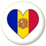 Andorra Country Flag Heart 25mm Pin Button Badge